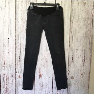 AG Jeans Maternity Black Ankle Skinny Pea In A Pod